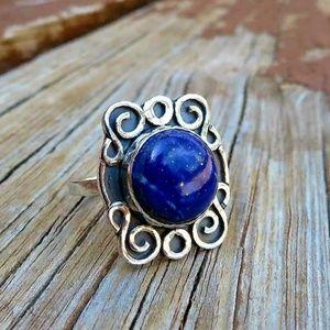 Deep Blue Lapis Lazuli Statement Ring 925 Sterling